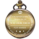Taschenuhr mit Gravur Kette Herren Geschenk von Einem Vater/Einer Mutter zu Einem Sohn Geschenk Quarz Taschenuhr Bronze