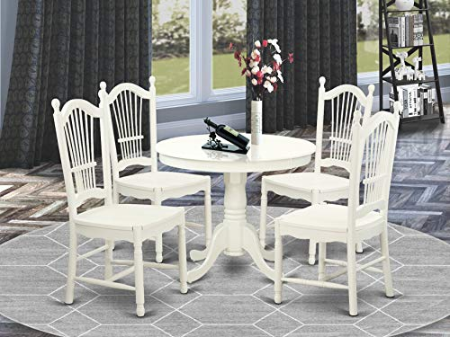 East West Furniture Dining Set- 4 Great Dining Chairs - A Lovely Round Kitchen Table- Wooden Seat and Linen White Round Dining Table
