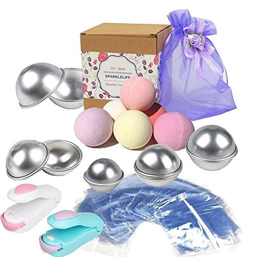 Sparklelife Big Sizes (4.1/ 3.5/ 3.1/ 2.7/ 2.3 inches) 5 Sizes 10 Pieces DIY Metal Bath Bomb Mold DIY Metal Bath Bomb Mold with 100 PACKS Wrap Bags Mini Heat Sealer for Homemade DIY Crafting