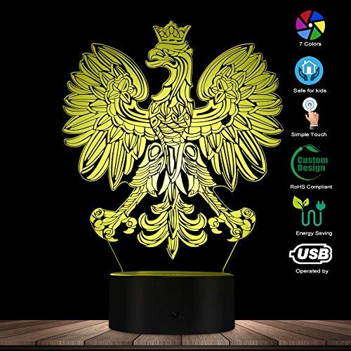 vhidfsjgdsfik Polen Jacke Polska 3D optische Täuschung USB Home Decor patriotische polnische Eagle Falcon Led Neuheit Nachtarbeit Tischlampe