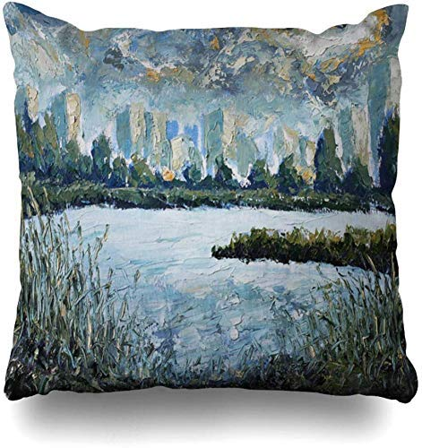 Quadrato 18x18 in Federa Originale di Lake Oil Autumn Painting Park Artistic Lakeside View Green City On Travel Nature Cuscino per Acqua Federa