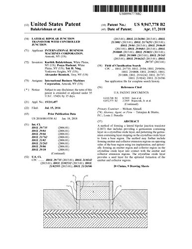 Lateral bipolar junction transistor with controlled junction: United States Patent 9947778 (English Edition)