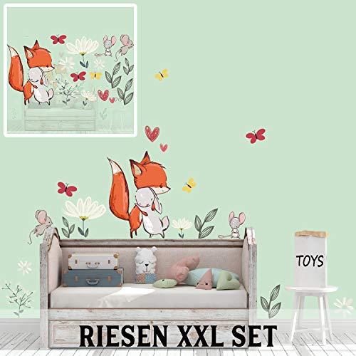 Sunnywall Wandtattoo Fuchs & Hase Maus Blumen Schmetterling Set fürs Kinderzimmer