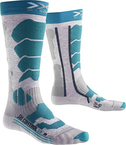X-Socks Damen Strumpf X-SOCKS SKI CONTROL 2.0 LADY, M Grey Melange/Turquoise, 41/42, X100091