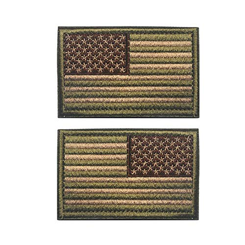 American Flag Patch, Tactical Military Flag Patches, American Military Flag Emblem Patch. (Multitan-Reverse)