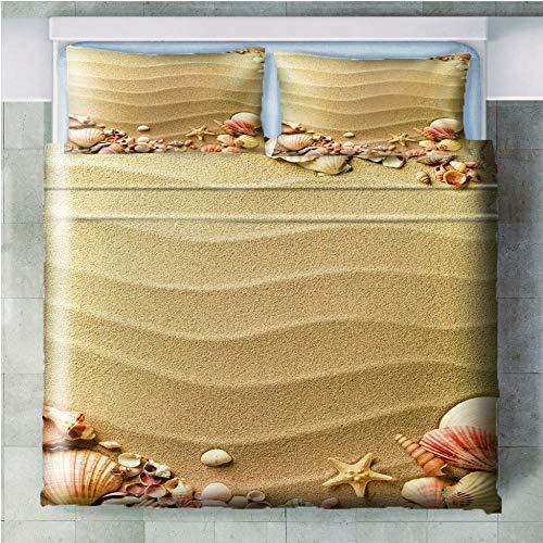 Juego de cama de 3 piezas Estrella de mar de concha de arena - 180x210cm(71x83 inch) Funda Edredón con cremallera de cama de microfibra suave y transpirable funda con 2 fundas de almohada