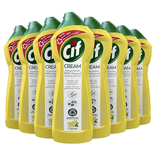 CIF Cream Schuurmiddel Citroen, tegen vuil, vet en kalkaanslag - 8 x 750ML - Voordeelverpakking