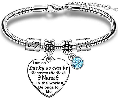 TTOVEN Charm Nana Bracelet Mothers Day From Granddaughter Grandson Birthday Gift For Nana Grandmother Christmas Presents