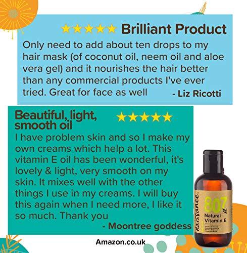 Beauty Shopping Naissance Vitamin E Oil 3.4 fl. oz/100ml – Pure, Natural, Vegan, Cruelty Free,