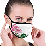 MSGDF Fashion 3D Face_mask_Protect Printed Gesichts-Mund-SchutzFeline,Exotic Nature Botanical Artwork with Leaves and Flamingo Watercolors Artwork