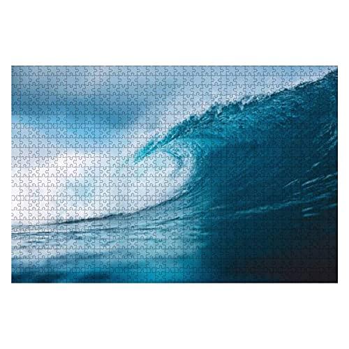 1000 piezas Ocean Blue Wave in Ocean Breaking Wave para surfear en Bali Rompecabezas de piezas grandes para adultos Juguete educativo para niños Juegos creativos Entretenimiento Rompecabezas de madera