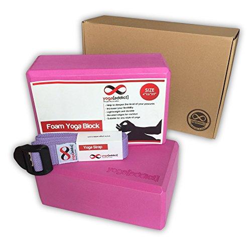 YogaAddict Cork or Foam Yoga Blocks 2 Pack and Yoga Strap...
