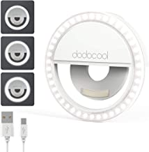 dodocool Selfie Ring Light, Selfie Light Portable Clip-on 3-Level Brightness Selfie Fill Ring Light with 36 Rechargeable L...