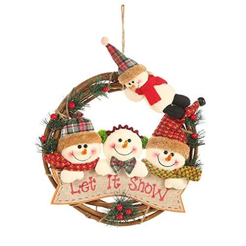Weihnachtskranz Türkranz Ø 30cm, Hukz Weihnachten Kranz Hängende Girlande für Haustür Deko Winter Haus Dekoration, Deko-Kranz Tannenkranz Adventskranz Weihnachts Weihnachtsdeko Weihnachtsgirlande