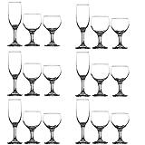 Annastore 18-teilig Gläserservice Paris bestehend aus Weingläser Sektgläser und Wassergläser...