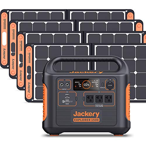 Jackery Solar Generator 1500, 1800W Generator Explorer 1500 and SolarSaga 100W with 3x110V/1800W AC Outlets, Solar Mobile Lithium Battery Pack for Outdoor RV/Van Camping, Overlanding, Emergency