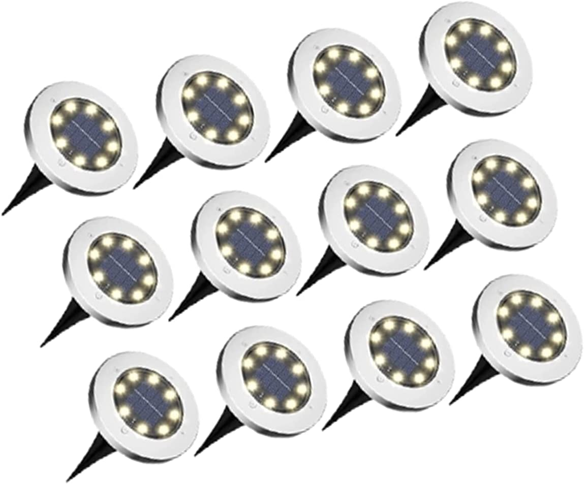 Pack of 12 8 LED Solar In Disk Outdoor Buried Lamp sale Lights Ranking integrated 1st place Ground