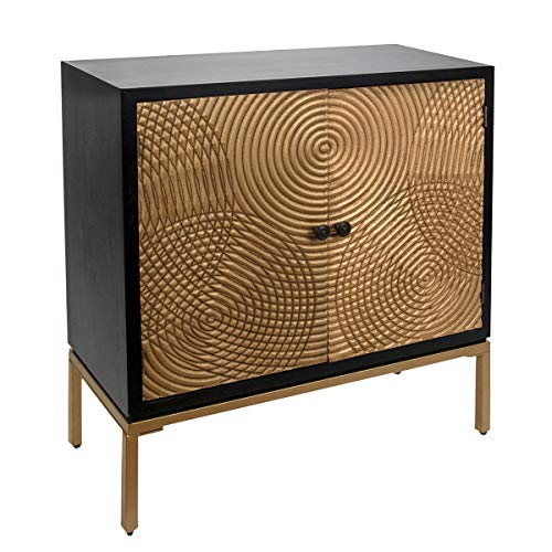 Vidal Regalos Mueble Consola Salon Madera Negro Dorado Diseño Etnico Oriental 82 cm