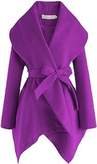 Macondoo Womens Thickened Irregular-Hem Belted Outwear Shawl Pea Coats