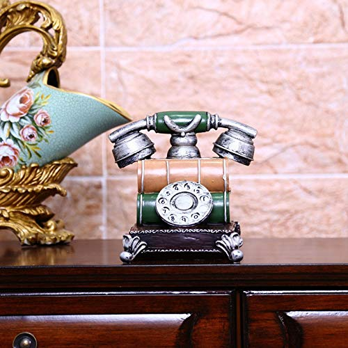 ZHANGYUGE Escultura,Retro Teléfono Modelo Piggy Banco Vintage Miniatura Figuras Resina Artesanías Nostálgicas Casa Decoración Cumpleaños Regalos De Cumpleaños