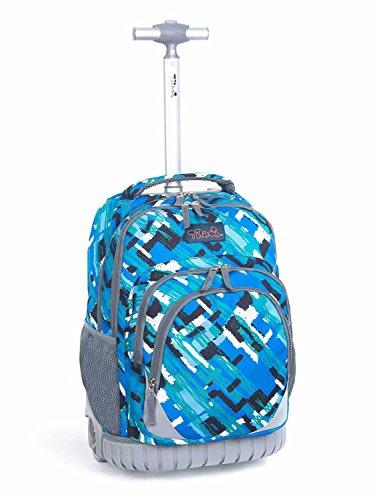 Tilami Kids Rolling Backpack 18 inch Boys and Girls Laptop Backpack, Ocean