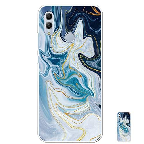 HopMore Silicone Coque pour Huawei P Smart 2019 / Honor 10 Lite Souple Motif Marbre Bumper Marble Belle Coque Protection, Etui Antichoc Antidérapant Housse pour Fille Femme Homme - Bleu Blanc