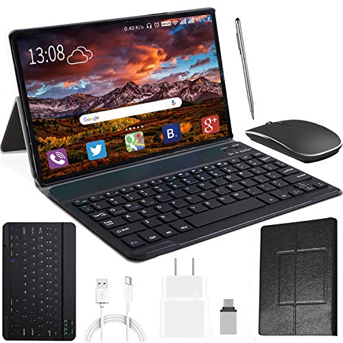 2 in 1 Tablet with Keyboard, Android Tablet 10' 1080P Full HD Touch, High Performance Android 10.0 Pie Tablets, Quad Core Processor, Ultra-Fast 4GB RAM, 64GB Storage, Bluetooth, 4G Wi-Fi, GPS