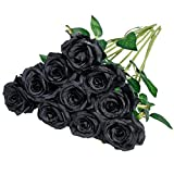 Nubry Artificial Silk Rose Flower Bouquet Lifelike Fake Rose for Wedding Home Party Decoration Event Gift 10pcs (Black)
