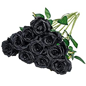 Nubry 10pcs Artificial Silk Rose Flower Bouquet Lifelike Fake Rose for Wedding Home Party Decoration Event Gift