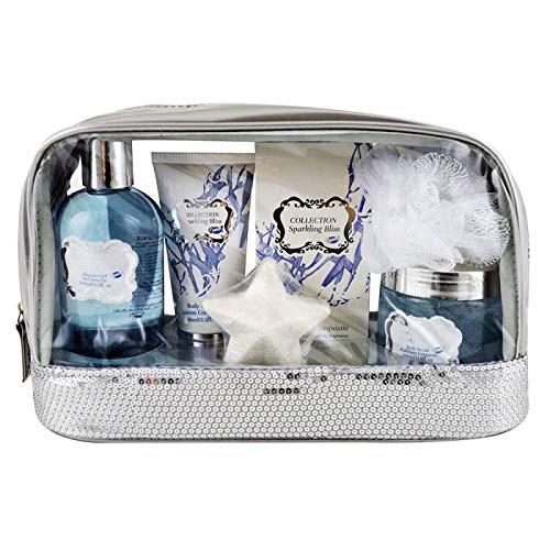 Gloss! Sparkling Bliss Trousse de Bain à Paillettes Fleur de Coton 6 Pièces, Coffret Cadeau-Coffret de bain