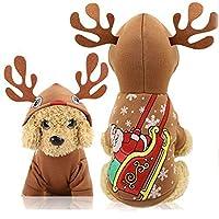 YAMI 犬猫クリスマストナカイコスチューム、面白いペットフェスティバルコスプレドレス、子犬フリースフーディーコート服、ベルベットフリース秋冬冬フード付きセータージャンプスーツ衣装アパレル(M)