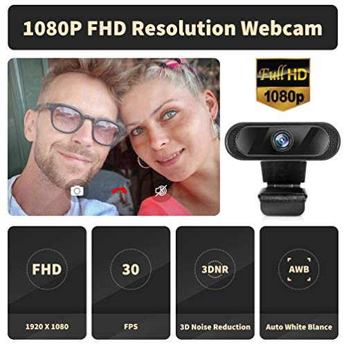 Cámara Web con micrófono, Webcam 1080P para PC Cámara Web USB Plug and Play para videollamadas Estudios Clases en línea conferencias grabaciones Juegos miniatura