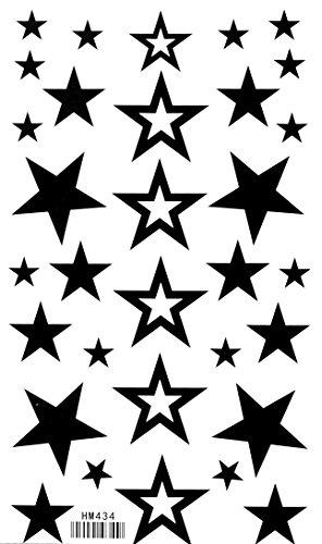 King Horse imperméables non-toxiques tatouages temporaires nouvelle creux fixe étoile à cinq branches