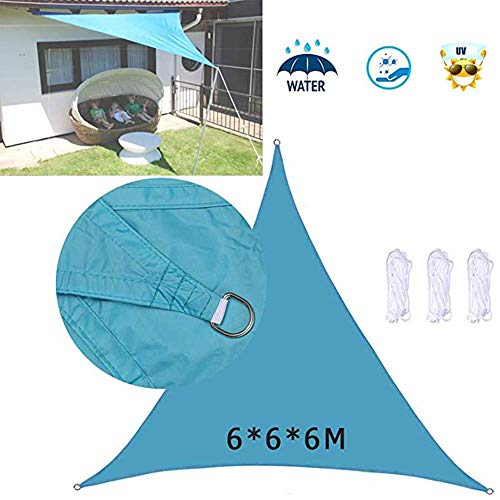 Dalovy Garden 6x6x6m Equilateral Triangle Sun Shade Sail, Anti-UV Dustproof and Windproof Awning Canopy Sunscreen for Outdoor Patio Garden, Sand, Lake Blue