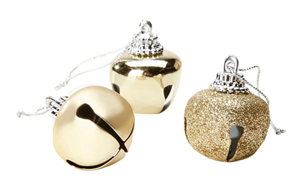 RetailSource Holiday Jingle Bells - Fancy Cap - Assorted Golds - 30 x 40mm - 21 Pieces (45 Pack),
