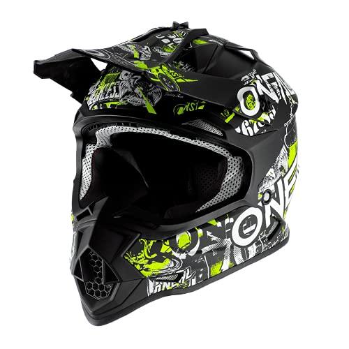 O'NEAL | Motocross-Helm | Kinder | MX Enduro | ABS-Schale, Sicherheitsnorm ECE 22.05, Lüftungsöffnungen für optimale Belüftung & Kühlung | 2SRS Helmet Attack Youth | Schwarz Neon-Gelb | Größe M