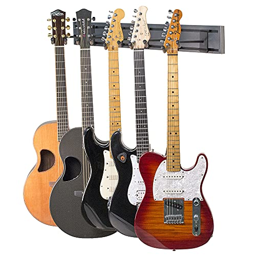 String Swing 5 Guitar Rack Aluminum Slatwall Rail System 5 Electric or Acoustic Hangers & 1 Rail with Silver Vein Textured Coating SW5RL-S-K