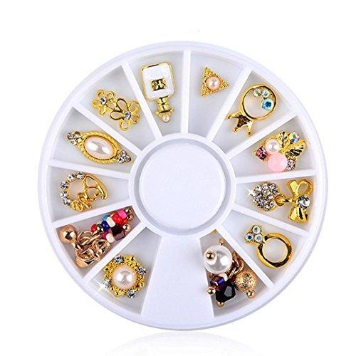 DDLBiz 3D Nail Art DIY Gold Flower Ring Alloy Pearl Jewelry Nail Art Decoration