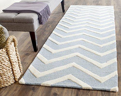 Safavieh Chevron-Streifen Teppich, CAM714, Handgetufteter Wolle Läufer, Blau/Elfenbein, 62 x 240 cm