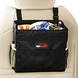 EPAuto Waterproof Car Trash Bin Leak-proof Auto Litter Bag with Side Pocket