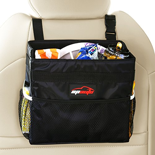EPAUTO Car Garbage Trash Can w/Storage Pockets