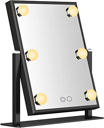 Nitin Dayllight Lighted Makeup Mirror-Lighted Vanity Mirror With Touch Screen Dimmable,High Definition Clarity Cosmetic Mirror,180° Adjustable Rotation,Tabletop Cosmetic Mirror