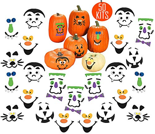 50 Halloween Pumpkin Decorating Craft Kits, Bulk Pack to Decorate 50 Pumpkins, Great Kids Party Favors Decoration for Boys and Girls, By 4E's Novelty