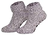 Piarini ABS Stoppersocken Wollsocken Wintersocken Norwegersocken Innenfrottee Damen Herren lila violett meliert 39 40 41 42
