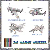 3D Coloring Puzzle Set, Art and Crafts Painting 3D Puzzle, 4-Pack Puzzles with 12 Markers, Fun Creative DIY Toys Gift for Kids 6-12 Year Old