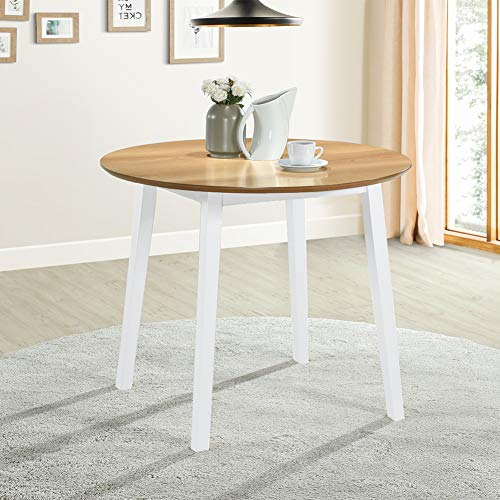 GOLDFAN Small Solid Wooden Round Dining Table Oak Kitchen Table for Dining Room Home Lounge Furniture,White (Only Table)