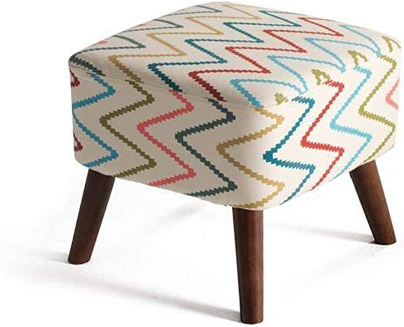 Carl Artbay Wooden Footstool Rainbow Stripes Linen Solid Wood Change The Shoe Stool Bed Stool Low Stool Home Color Brown Stent