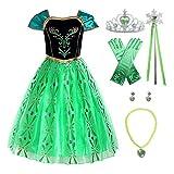 ReliBeauty Disfraz de Princesa Anna niña, Verde Manzana,con Accesorios (9)