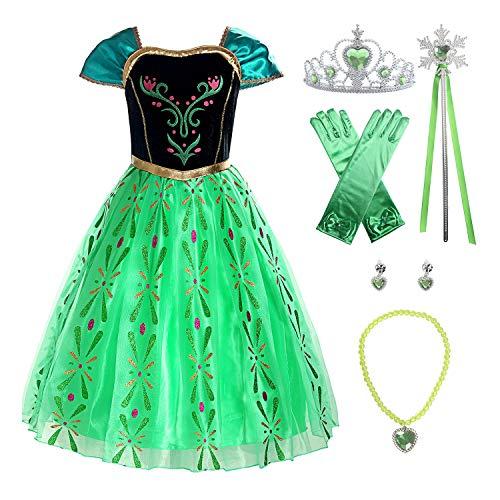 ReliBeauty Disfraz de Princesa Anna niña, Verde Manzana,con Accesorios (10),140