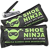 Charcoal Shoe Deodorizer Inserts - Shoe Odor Eliminator - Activated Bamboo Charcoal Shoe Deodorizer Bags to Absorb Shoe Smell - Large 75g, 2 Pack with Nail Clippers